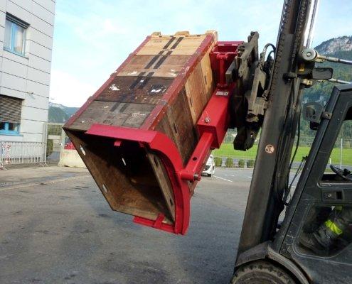 Palettenwender. R-Power - Umwelttechnik schafft Zukunft. R-Power ist ein Vorarlberger Umweltdienstleister. Anlagenbau, Forschung und Beratung für Recyclingunternehmen, die Recyclingbranche und industrielle Abfallwirtschaft.