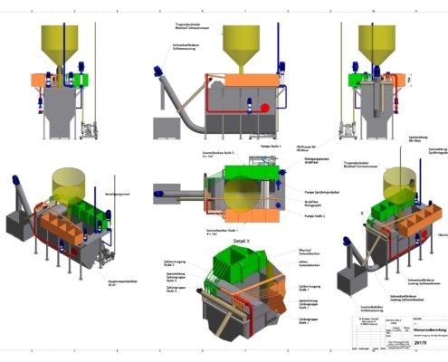 Darstellung Konzept Wasseraufbereitung, R-Power. R-Power - Umwelttechnik schafft Zukunft. R-Power ist ein Vorarlberger Umweltdienstleister. Anlagenbau, Forschung und Beratung für Recyclingunternehmen, die Recyclingbranche und industrielle Abfallwirtschaft.
